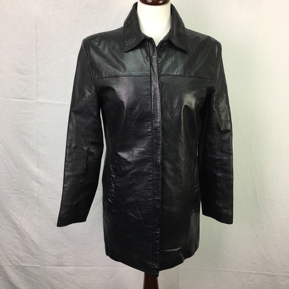 Kenneth Cole Jackets & Blazers - Kenneth Cole Black Button Leather Jacket